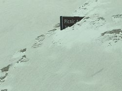 Travelling dunes claim another sign