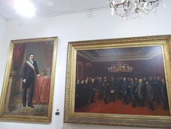 Some parliamentary meeting scene or such of the 19th century (on the second floor)