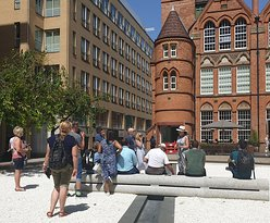 Oozells Square in Brindleyplace is a good place to hear about the Victorian drive to take the town of Birmingham forward with the non-conformist minister George Dawson preaching the 'Civic Gospel' and encouraging Joseph Chamberlain into local politics.