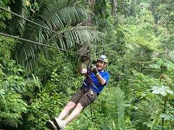My husband ziplining