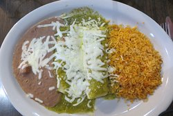 2 enchiladas (one cheese and one chicken) with green sauce, El Rincon, Pflugerville, TX.
