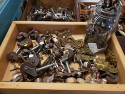 Isn't this what we are always looking for! Antique hardware!! Wheels, knobs, handles and hinges. get 'em while they're here!!