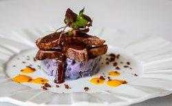 Seared Duck, Carrot and Orange Puree, Purple Potato Salad, Pancetta Crumb, Plum Jus