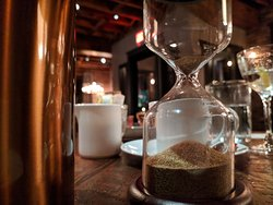 Hourglass timer for french press coffee
