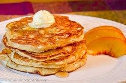 Peach ricotta pancakes.