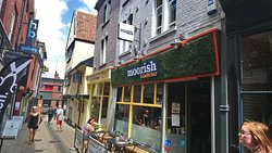 The outdoor seating and shop front