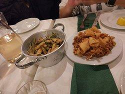 Calamari and fried zucchini.