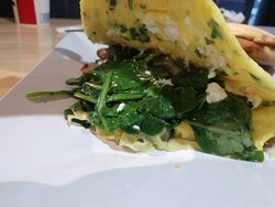 goat cheese, mushroom, spinach omelette