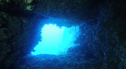 Cavern exit - that blue color is so inviting.