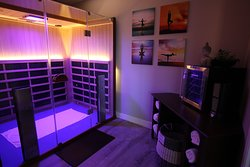 Private full spectrum infrared sauna for stretching, training and laying down.