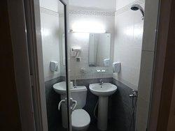 シャワーはトイレの上に付いています