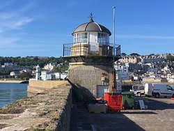 A lovely vantage point to see the town f St Ives, the original remains of the first Pier and the lovely blue sea.