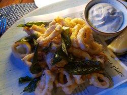 Calamari with crisp basil