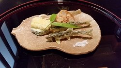 Tempra: Baby freshwater trout, Zucchini, Lotus root, and Burdock