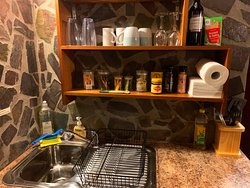 Each suite has its own kitchen space with a full size refrigerator / freezer stocked with your free breakfast and drinks / food for sale too.  Bring your own and cook - microwave, electric frypan, sandwich press, rice maker, utensils and cutlery.