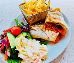 Pulled Pork Wrap served with your choice of Fries & Salad