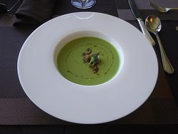 Celery Soup. Just ok tasting. Plated beautifully though.