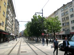 Traffic free, except for trams