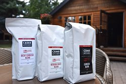 Coffee and coffee beans available at the cafe.