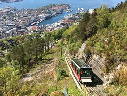 View from top of Mt. Floyen mountain of funicular coming up