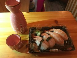 Take away sushi with Saki cultures cusine enjoyable home