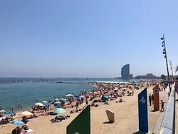 Another view down the beach, toward the Olimpic Harbor