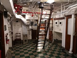 Looking toward the wardroom from the officers' quarters