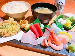 """This is called """"SASHIMI SET"""" wich there are Japanese rice and miso soup and Japanese pickles and  tempra and SASHIMI!"""
