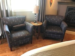 Two comfy chairs in the Gray Pine