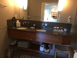 Our bathroom counter space and sinks in the Gray Pine