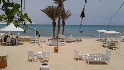 Outdoor seating and sunbeds at the restaurant