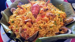 PAELLA PUNTO ROJO FOR 2! #73 only $37 Comes with french fries & side salad. Tasty!