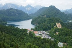 The Alpsee and Hohenschwangau as seen from Neuschwanstein Castle