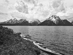 View of Grand Tetons from our lunch stop on our first day of kayaking.