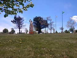 sculptures at Wolastoq Park, New Brunswick