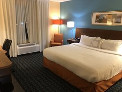 Friendly shuttle driver, nice room, quiet stay - all for $80!  Great deal!
