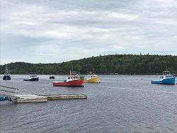 Colourful fishing boats of Terence Bay Nova Scotia