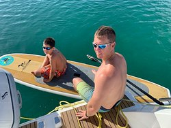 Aden (my youngest) getting ready to paddleboard.