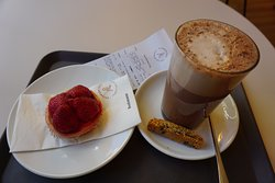 Soy milk hot chocolate and pastry