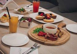 Breakfast Rosti, Red Quinoa Salad, Pancakes, Scrambled Egg, Strawberry Lemonade, Orange Juice