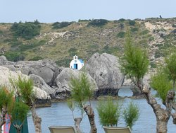 The little church, seen from the hotel.  A short walk to Kolymbia Harbour to see it.