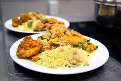 Vegan South Indian curry, dhal, lemon rice and aubergine bhaji.