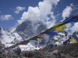 Prayer flags in mountains