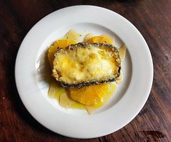 Deep fryed Goat´s Cheese with Orange and Honey