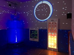 Lots to enjoy in our under 3's sensory room with pets, ball pool, bubble tubes and Cacoon swinging chair, infinity lights.