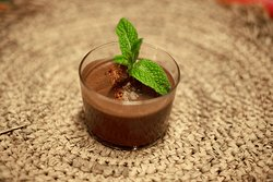 Dark chocolate mousse with chilli, salt and crickets