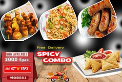 Chicken Samosha -5 pcs, Sausage-5 pcs , Potato (aalu)stick -5, Chowmin 2.5 Plates  5 people can enjoy free home delivery service and taste our amazing food.