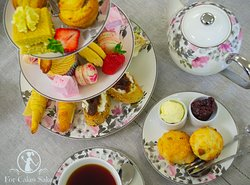 Afternoon Tea for Two!   This box included Caramel Apple Cupcakes Lemon-Liscious Squares, Cruffins, Custard Shorties, Raspberry Ripple Macarons, Handmade Pink Lemonade Marshmallows, Scones, Mini Croissants, Fajita Rolls, Goats Cheese Tartine and Chicken and Bacon Pinwheels.