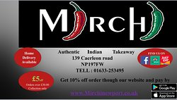 Hello everyone if you want to view our menus please go on to www.mirchinewport.co.uk