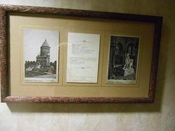 Some of the pictures on the wall giving interesting information about president James Garfield.